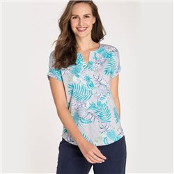 Olsen Top With Stripe And Pineapple Leaf Print Aqua