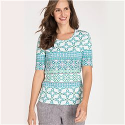 Olsen Top With All-Over Ornament Print Aqua