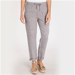 Olsen Linen Trouser With Turn Up Detail Grey