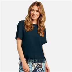 Gerry Weber Blouse With Frayed Hem Navy