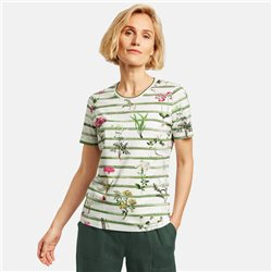 Gerry Weber Floral And Stripe Print Top Green