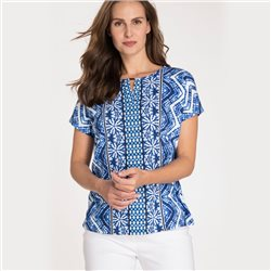 Olsen Round Neck Shirt With Batik Print Blue