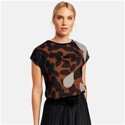 Taifun Satin Front Print Top Rust
