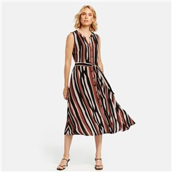 Taifun Dress With A Stripe Design Black