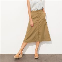 Part Two Clarissa Button Front Skirt Tobacco