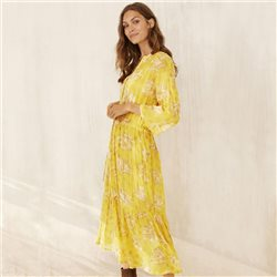 Part Two Benny Flower Print Dress Lemon