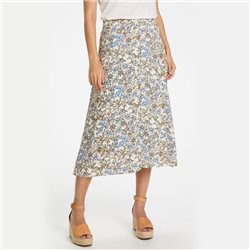 Part Two Carina Leaf Print Skirt Blue