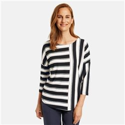 Gerry Weber 3/4 Sleeve Top With Stripe Patches Black