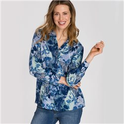 Olsen Printed Long Sleeve Blouse Blue