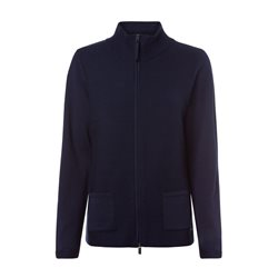 Olsen Ribbed Cardigan With Stand-Up Collar Navy