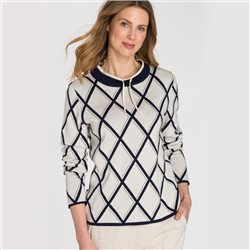 Olsen Stand-Up Collar Jumper With Diamond Pattern Beige