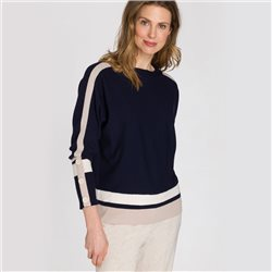 Olsen Block Stripe Jumper Navy