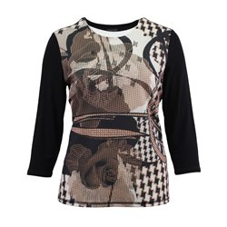 Lebek Graphic Print Top With Studs Camel