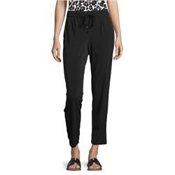 Betty & Co Pull On Trousers With Tie Belt Black