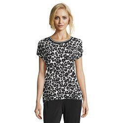 Betty & Co Animal Print Top With Ribbed Neckline Black