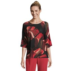 Betty & Co Fine Knit Floral Jumper Red