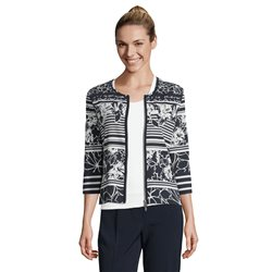 Betty Barclay Floral Print Zip Jacket Navy