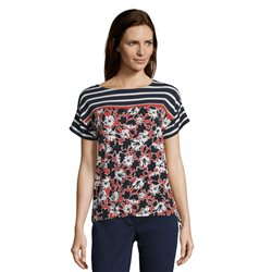 Betty Barclay Striped Top With Floral Print Red