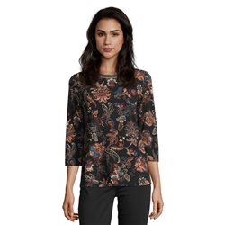 Betty Barclay Paisley Print Top With Decorative Neckline Camel