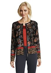 Betty Barclay Knitted Cardigan With Paisley Print Camel