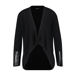 Taifun Ribbed Cardigan With Leather Look Trim Black