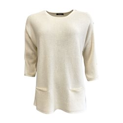 Olsen Jumper With Button Sleeves Cream