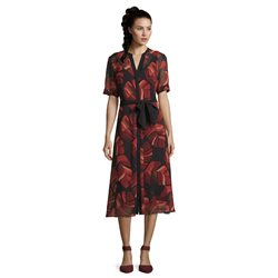 Betty & Co Leaf Print Midi Dress Red