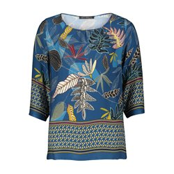 Betty Barclay Leaf Print Blouse Blue