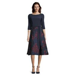Vera Mont Floral Dress With Tie Belt Navy