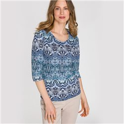 Olsen Round Neck Top With Snake Print Blue