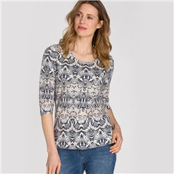 Olsen Round Neck Top With Snake Print Beige