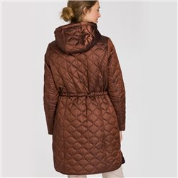 Olsen Quilted Coat With Detachable Hood Bronze