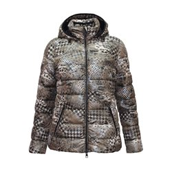 Lebek Animal Print Coat With Detachable Hood Brown