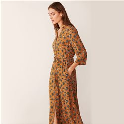 Part Two Erikke Leaf Print Dress Caramel