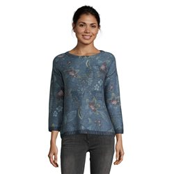 Betty Barclay Floral Jumper With Stud Detail Blue