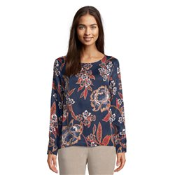 Betty & Co Leaf Print Blouse Blue