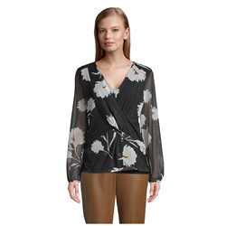 Betty & Co Flower Print Long Sleeve Blouse Black