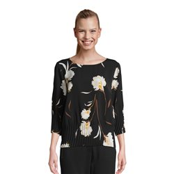 Betty & Co Floral Print Top With Folds Black