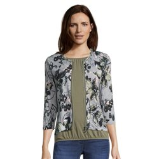 Flower Print Zip Jacket Green