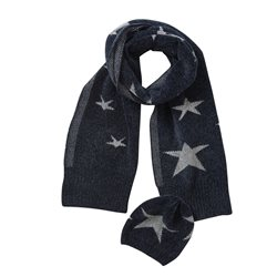 Betty Barclay Star Print Scarf & Hat Set Navy