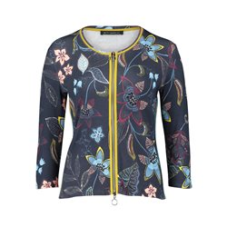 Betty Barclay Flower Print Zip Jacket Blue
