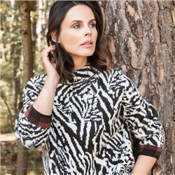 Olsen Zebra Print Stand Up Collar Jumper Chocolate