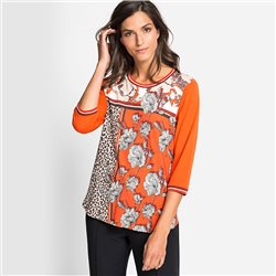 Olsen Flower & Leopard Print Top Pumpkin