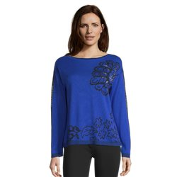 Betty Barclay Leaf Print Jumper Blue