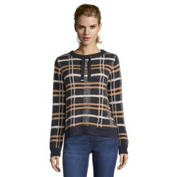 Betty Barclay Checked Jumper With Tie Detail Navy