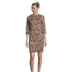 Betty Barclay Animal Print 3/4 Sleeve Dress Camel
