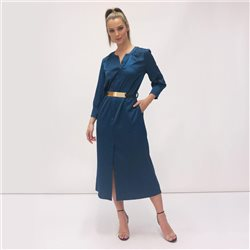 Fee G Shirt Dress With Gold Belt Teal
