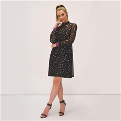Fee G Lurex Sparkle Stand Collar Dress Black
