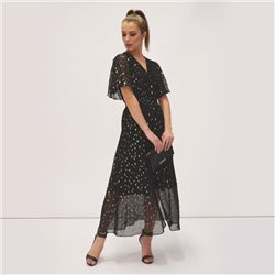 Fee G Lurex Sparkle Dress With Bell Sleeves Black