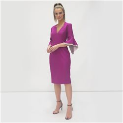 Fee G V Neck Dress With Flute Sleeves Purple